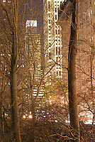 Buidings on 59th Street seen thru Bare Trees in Central Park, Midtown Manhattan, New York City, New York State, USA, Winter