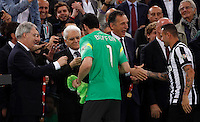 Calcio, finale Tim Cup: Juventus vs Lazio. Roma, stadio Olimpico, 20 maggio 2015.<br /> Juventus' players Gianluigi Buffon, center, and Simone Pepe receive medals by Italian President Sergio Mattarella, second from left, flanked by Italian Football League's President Maurizio Beretta at the end of the Italian Cup final football match between Juventus and Lazio at Rome's Olympic stadium, 20 May 2015. Juventus won 2-1 after extra time.<br /> UPDATE IMAGES PRESS/Isabella Bonotto