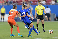 Frisco, TX - Sunday September 03, 2017: Poliana Barbosa Medeiros and Beverly Yanez during a regular season National Women's Soccer League (NWSL) match between the Houston Dash and the Seattle Reign FC at Toyota Stadium in Frisco Texas. The match was moved to Toyota Stadium in Frisco Texas due to Hurricane Harvey hitting Houston Texas.