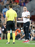 Sevilla FC's coach Jorge Sampaoli have words with the referee during Supercup of Spain 2nd match.August 17,2016. (ALTERPHOTOS/Acero)