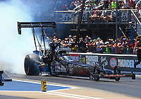 Jun 18, 2016; Bristol, TN, USA; NHRA top fuel driver Scott Palmer during qualifying for the Thunder Valley Nationals at Bristol Dragway. Mandatory Credit: Mark J. Rebilas-USA TODAY Sports