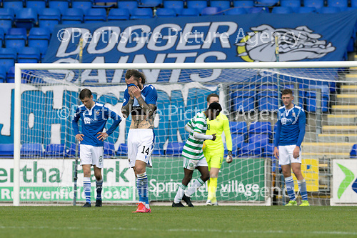 St Johnstone v Celtic…04.10.20   McDiarmid Park  SPFL<br />A gutted Stevie May reacts as Leigh Griffith's scores a very late goal<br />Picture by Graeme Hart.<br />Copyright Perthshire Picture Agency<br />Tel: 01738 623350  Mobile: 07990 594431