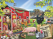 Lori, REALISTIC ANIMALS, REALISTISCHE TIERE, ANIMALES REALISTICOS, zeich, paintings+++++A Barnyard Baseball Game_5_10.5in_72,USLS113,#a#, EVERYDAY ,puzzle,puzzles