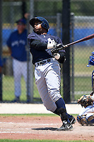 GCL Yankees 2 outfielder Wilmer Romero (87) at bat during a game against the GCL Blue Jays on July 2, 2014 at the Bobby Mattick Complex in Dunedin, Florida.  GCL Yankees 2 defeated GCL Blue Jays 9-6.  (Mike Janes/Four Seam Images)