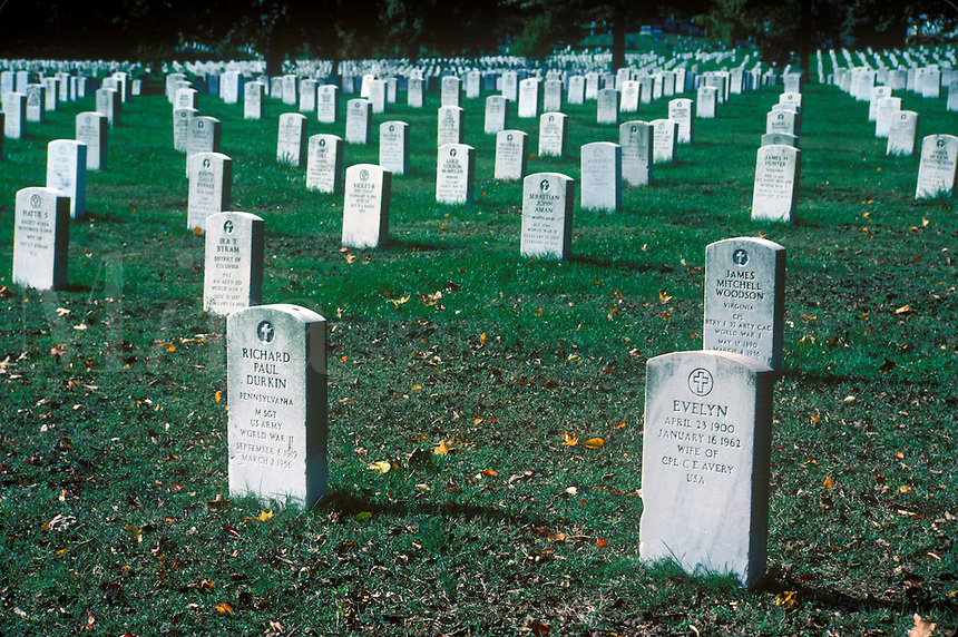 Gravestones, Arlington National Cemetery, Arlington, Virginia. Landmark. Arlington Virginia USA North America, DC area.