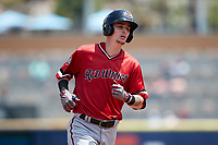Carlos Tocci (20) of the Rochester Red Wings rounds the bases after hitting a home run against the Scranton/Wilkes-Barre RailRiders at PNC Field on July 25, 2021 in Moosic, Pennsylvania. (Brian Westerholt/Four Seam Images)