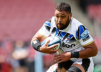 29th May 2021; Twickenham Stoop, London, England; English Premiership Rugby, Harlequins versus Bath; Taulupe Faletau of Bath breaking the tackle of Care of Quins