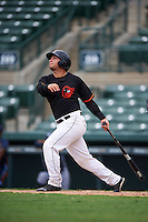 GCL Orioles designated hitter Daniel Fajardo (34) at bat during the second game of a doubleheader against the GCL Rays on August 1, 2015 at the Ed Smith Stadium in Sarasota, Florida.  GCL Orioles defeated the GCL Rays 11-4.  (Mike Janes/Four Seam Images)