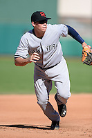 Scottsdale Scorpions infielder Peter O'Brien (28), of the New York Yankees organization, during an Arizona Fall League game against the Mesa Solar Sox on October 15, 2013 at HoHoKam Park in Mesa, Arizona.  Mesa defeated Scottsdale 7-4.  (Mike Janes/Four Seam Images)