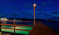 Palau Micronesia Oct 2007, overlooking the entrance to the Palau Harbor from a Restaurant at dusk.
