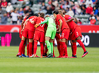 CARSON, CA - FEBRUARY 9: Canada huddles during a game between Canada and USWNT at Dignity Health Sports Park on February 9, 2020 in Carson, California.
