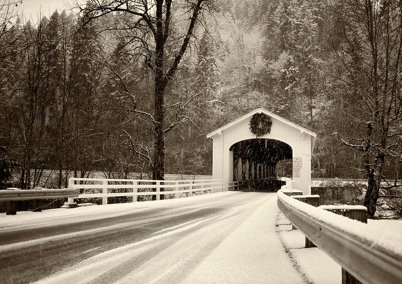 Goodpasture Bridge in snow. Oregon.