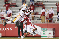Arkansas defensive back LaDarrius Bishop (24) blocks a pass intended for Tennessee wide receiver Brandon Johnson (7), Saturday, November 7, 2020 during the second quarter of a football game at Donald W. Reynolds Razorback Stadium in Fayetteville. Check out nwaonline.com/201108Daily/ for today's photo gallery. <br /> (NWA Democrat-Gazette/Charlie Kaijo)