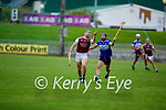Causeway's Bryan Murphy about to gain possession as Darren Dineen of St Brendans bares down on him, in the County Senior Hurling championship