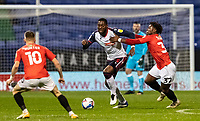 Bolton Wanderers' Ricardo Santos (centre) competing with Salford City's Brandon Thomas-Asante (right) <br /> <br /> Photographer Andrew Kearns/CameraSport<br /> <br /> The EFL Sky Bet League Two - Bolton Wanderers v Salford City - Friday 13th November 2020 - University of Bolton Stadium - Bolton<br /> <br /> World Copyright © 2020 CameraSport. All rights reserved. 43 Linden Ave. Countesthorpe. Leicester. England. LE8 5PG - Tel: +44 (0) 116 277 4147 - admin@camerasport.com - www.camerasport.com