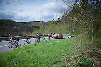 the breakaway group over the first climb of the day: the Côte de La Roche-en-Ardenne (2900m/5.6%)<br /> <br /> 101th Liège-Bastogne-Liège 2015