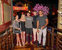 LAS VEGAS, NV - July 15, 2021: Lori Krebs, Hannah Godwin, Dylan Barbour, Blake Horstmann and Clay harbor pictured at Benihana Restaurant at Westgate Las Vegas Resort & Casino in Las Vegas, NV on July 15, 2021. <br /> CAP/MPI/GDP<br /> ©GDP/MPI/Capital Pictures