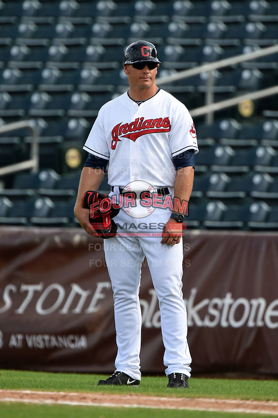 Peoria Javelinas coach Dave Wallace (17) during an Arizona Fall League game against the Scottsdale Scorpions on October 18, 2014 at Surprise Stadium in Surprise, Arizona.  Peoria defeated Scottsdale 4-3.  (Mike Janes/Four Seam Images)