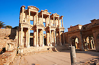 Photo of The library of Celsus. Images of the Roman ruins of Ephasus, Turkey. Stock Picture & Photo art prints 4