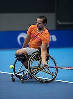 Rotterdam, Netherlands, December 13, 2016, Topsportcentrum, Lotto NK Tennis, Wheelchair,  Koen Meerwijk (NED)<br /> Photo: Tennisimages/Henk Koster
