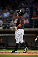 Birmingham Barons designated hitter Mitch Roman (15) at bat during a game against the Tennessee Smokies on August 16, 2018 at Regions FIeld in Birmingham, Alabama.  Tennessee defeated Birmingham 11-1.  (Mike Janes/Four Seam Images)