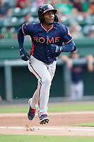 Shean Michel (28) of the Rome Braves in a game against the Greenville Drive on Wednesday, August 4, 2021, at Fluor Field at the West End in Greenville, South Carolina. (Tom Priddy/Four Seam Images)