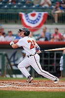 Florida Fire Frogs catcher Brett Cumberland (28) follows through on a swing during a game against the Daytona Tortugas on April 7, 2018 at Osceola County Stadium in Kissimmee, Florida.  Daytona defeated Florida 4-3.  (Mike Janes/Four Seam Images)