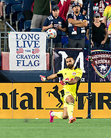 FOXBOROUGH, MA - JUNE 23: Carlos Coronel #13 of New York Red Bulls takes a goal kick during a game between New York Red Bulls and New England Revolution at Gillette Stadium on June 23, 2021 in Foxborough, Massachusetts.