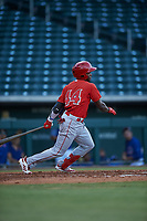 AZL Angels Julio De La Cruz (44) at bat during an Arizona League game against the AZL Cubs 1 on June 24, 2019 at Sloan Park in Mesa, Arizona. AZL Cubs 1 defeated the AZL Angels 12-0. (Zachary Lucy / Four Seam Images)