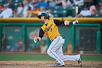 Taylor Ward (3) of the Salt Lake Bees bats against the New Orleans Baby Cakes at Smith's Ballpark on June 11, 2018 in Salt Lake City, Utah. New Orleans defeated Salt Lake 6-5.  (Stephen Smith/Four Seam Images)