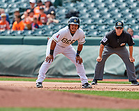 Carlos Perez (19) of the Salt Lake Bees takes a lead from first base during the game against the El Paso Chihuahuas in Pacific Coast League action at Smith's Ballpark on April 30, 2017 in Salt Lake City, Utah. El Paso defeated Salt Lake 3-0. This was Game 1 of a double-header.  (Stephen Smith/Four Seam Images)