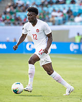 CHARLOTTE, NC - JUNE 23: Alphonso Davies #12 during a game between Cuba and Canada at Bank of America Stadium on June 23, 2019 in Charlotte, North Carolina.
