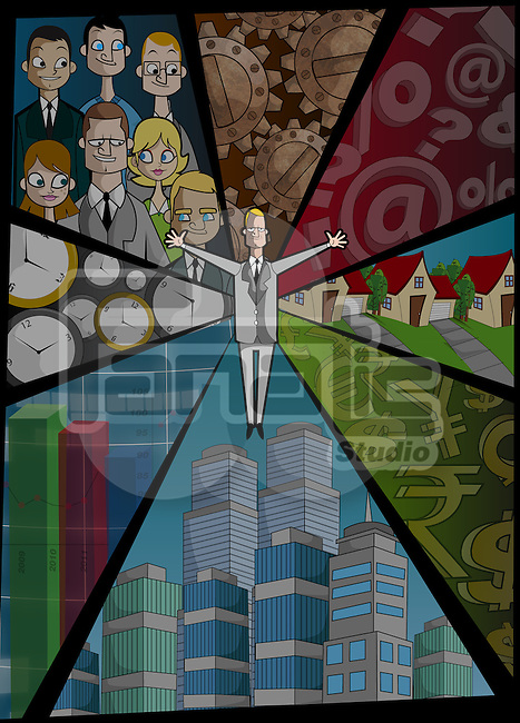 Businessman with phases of life depicting the concept of business cycle
