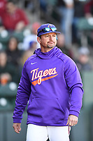 Head coach Monte Lee (13) of the Clemson Tigers in the Reedy River Rivalry game against the South Carolina Gamecocks on Saturday, March 3, 2018, at Fluor Field at the West End in Greenville, South Carolina. Clemson won, 5-1. (Tom Priddy/Four Seam Images)