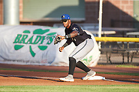 Missoula Osprey first baseman Francis Martinez (45) during a Pioneer League game against the Idaho Falls Chukars at Melaleuca Field on August 20, 2019 in Idaho Falls, Idaho. Idaho Falls defeated Missoula 6-3. (Zachary Lucy/Four Seam Images)