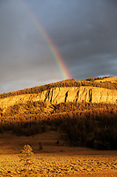 Rainbow over cliffs above Soda Butte Creek valley lit by sunset, Yellowstone National Park, Wyoming, USA