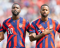 KANSAS CITY, KS - JULY 18: Shaq Moore #20 Kellyn Acosta #23 of the United States during a game between Canada and USMNT at Children's Mercy Park on July 18, 2021 in Kansas City, Kansas.