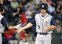 9 April 2008: Bryan Byrne of the Mobile BayBears, Class AA affiliate of the Arizona Diamondbacks, in the season opener against the Mississippi Braves at Trustmark Park in Pearl, Miss. Photo by:  Tom Priddy/Four Seam Images