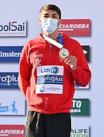100m Butterfly Men<br /> Podium<br /> RIBEIRO Diogo Matos POR Portugal Silver Medal<br /> LEN European Junior Swimming Championships 2021<br /> Rome 2179<br /> Stadio Del Nuoto Foro Italico <br /> Photo Andrea Masini / Deepbluemedia / Insidefoto
