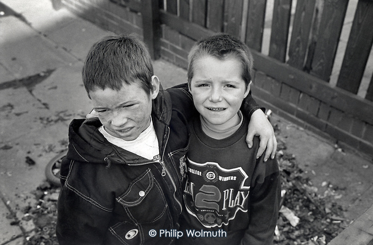 Two boys play in an alley in Grimethorpe, South Yorkshire. The.colliery, the town's main employer, closed in 1992.