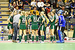 Berlin, Germany, February 01: Players of HTC Uhlenhorst Muehlheim during timeout during the 1. Bundesliga Damen Hallensaison 2014/15 final hockey match between Duesseldorfer HC (white) and HTC Uhlenhorst Muehlheim (green) on February 1, 2015 at the Final Four tournament at Max-Schmeling-Halle in Berlin, Germany. Final score 4-1 (1-0). (Photo by Dirk Markgraf / www.265-images.com) *** Local caption ***