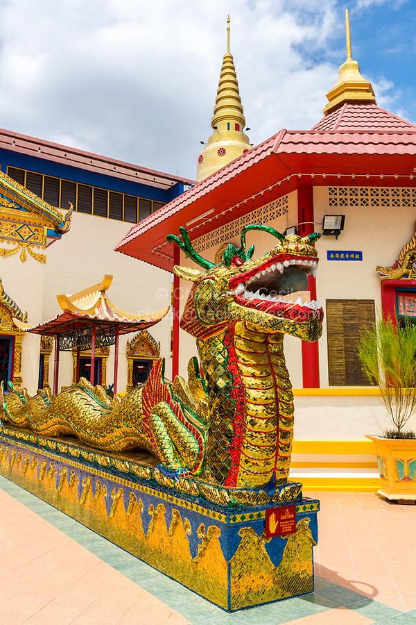 A Naga Guards Entrance to Wat Chayamangkalaram,  Temple of the Reclining Buddha.  George Town, Penang, Malaysia