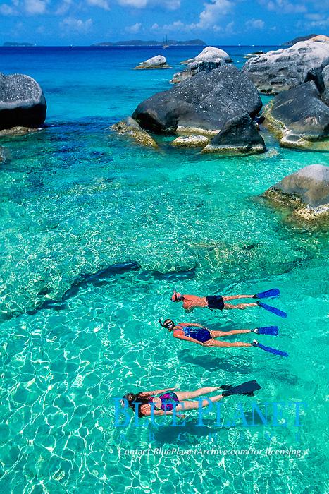 snorkelers at The Baths, British Virgin Islands, Caribbean, Atlantic Ocean