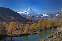Grindjisee and Matterhorn in autum, Zermatt, Valais, Switzerland