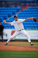 Michigan Wolverines relief pitcher Jack Bredeson (34) delivers a pitch during a game against Army West Point on February 18, 2018 at Tradition Field in St. Lucie, Florida.  Michigan defeated Army 7-3.  (Mike Janes/Four Seam Images)