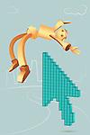 Illustrative image of arrow picking robotic businessman