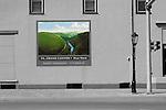 Street corner in Wellsboro, Pennsylvania with Grand Canyon mural.