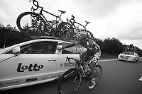 André Greipel (DEU) checking in with DS Bart Leysen<br /> <br /> 2013 Ster ZLM Tour <br /> stage 4: Verviers - La Gileppe (186km)