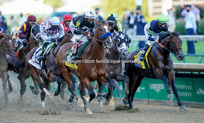 September 5, 2020: Authentic, #18, ridden by jockey John Velazquez, wins the 146th running of the Kentucky Derby. The races are being run without fans due to the coronavirus pandemic that has gripped the world and nation for much of the year, with only essential personnel, media and ownership connections allowed to attend at Churchill Downs in Louisville, Kentucky. Scott Serio/Eclipse Sportswire/CSM