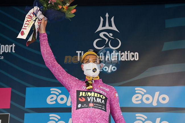 Wout Van Aert (BEL) Team Jumbo-Visma also retains the points Maglia Ciclamino at the end of Stage 2 of Tirreno-Adriatico Eolo 2021, running 202km from Camaiore to Chiusdino, Italy. 11th March 2021. <br /> Photo: LaPresse/Gian Mattia D'Alberto    Cyclefile<br /> <br /> All photos usage must carry mandatory copyright credit (© Cyclefile   LaPresse/Gian Mattia D'Alberto)